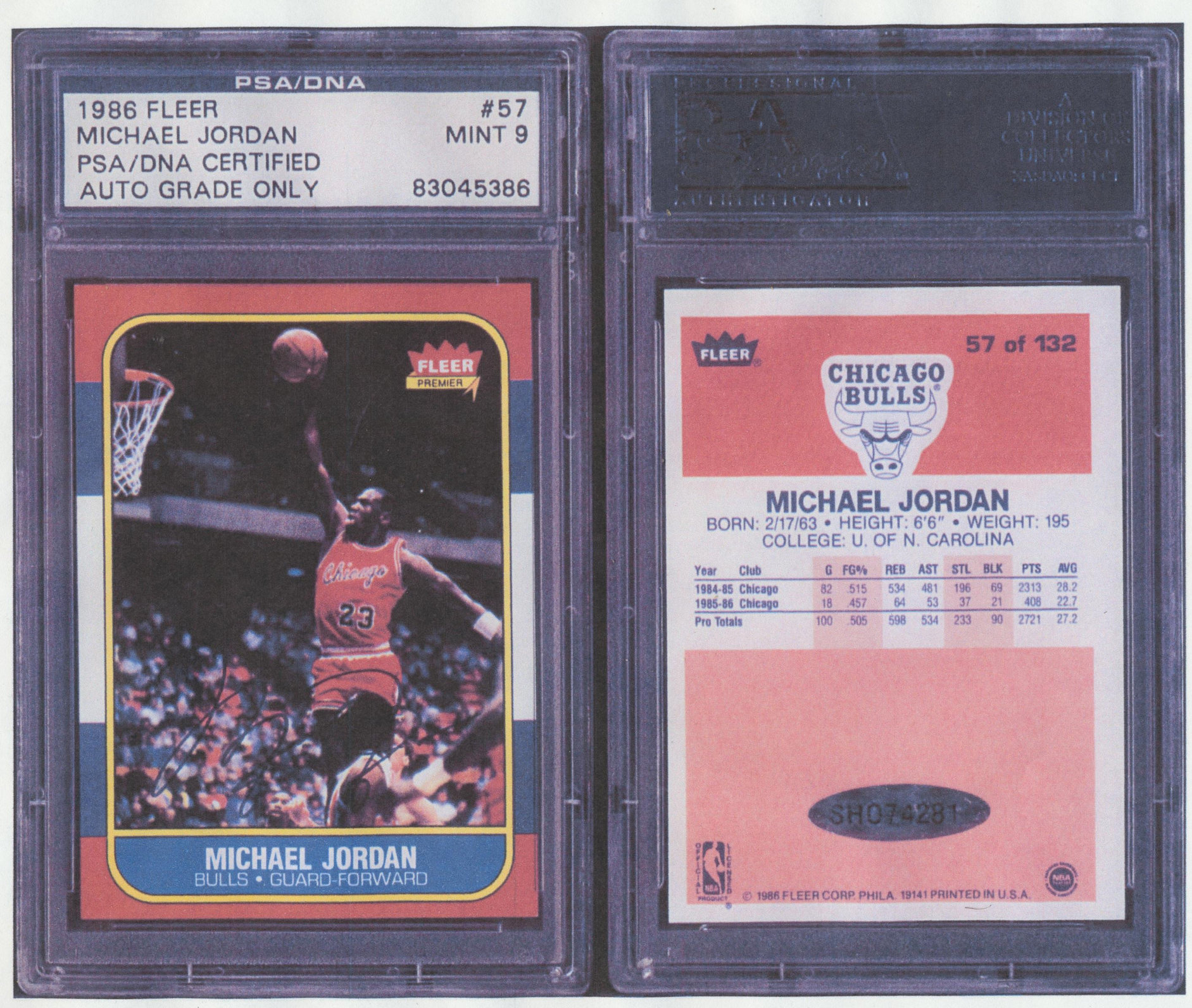 Counterfeit Michael Jordan Autographed Rookie Card In Blue Slab Bought On Ebay Collectors Universe