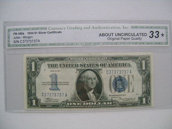 $1 1934 Silver Certificate bill serial number C37373737A ...