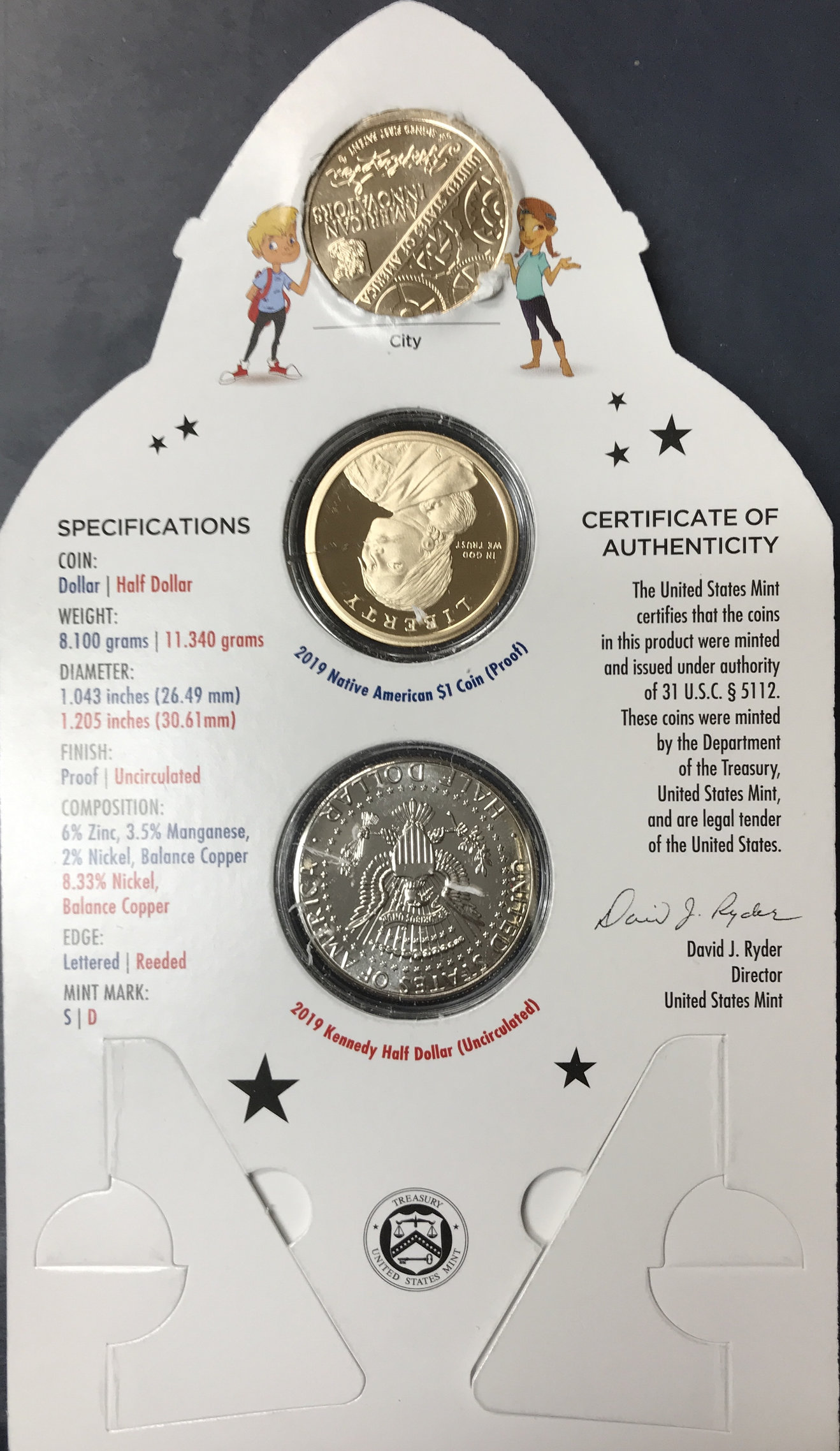 2019 Rocketship 2 coin sets w//government packaging 10 Pack 10