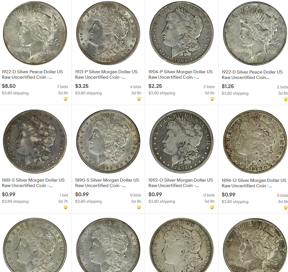 Silver Dollars 99 Cent Ebay Auctions No Reserve Ends Sunday 7 19 Collectors Universe
