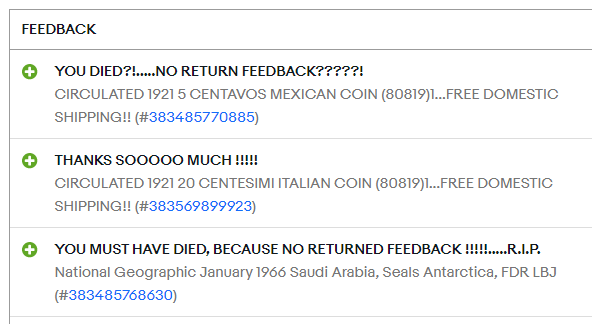 When An Ebay Buyer Doesn T Leave Feedback Good Chance They Died Collectors Universe