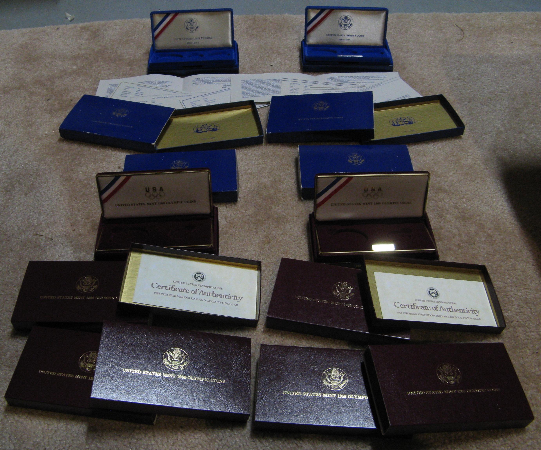 1988 USA Olympic Silver Commemorative Proof Dollar Box COA