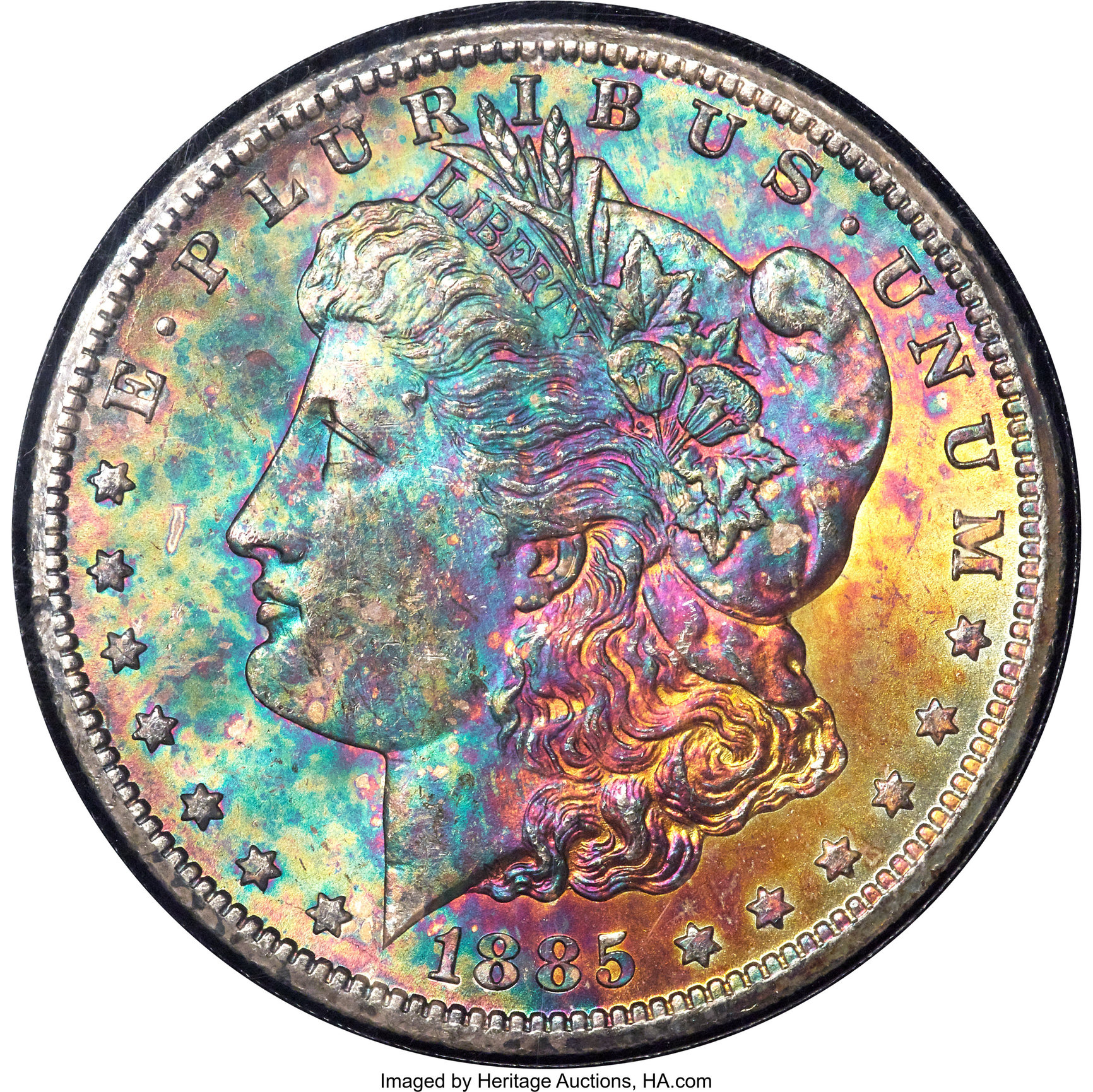 1885-CC MONSTER RAINBOW GSA & ISABELLA QUARTER RAINBOW TONED