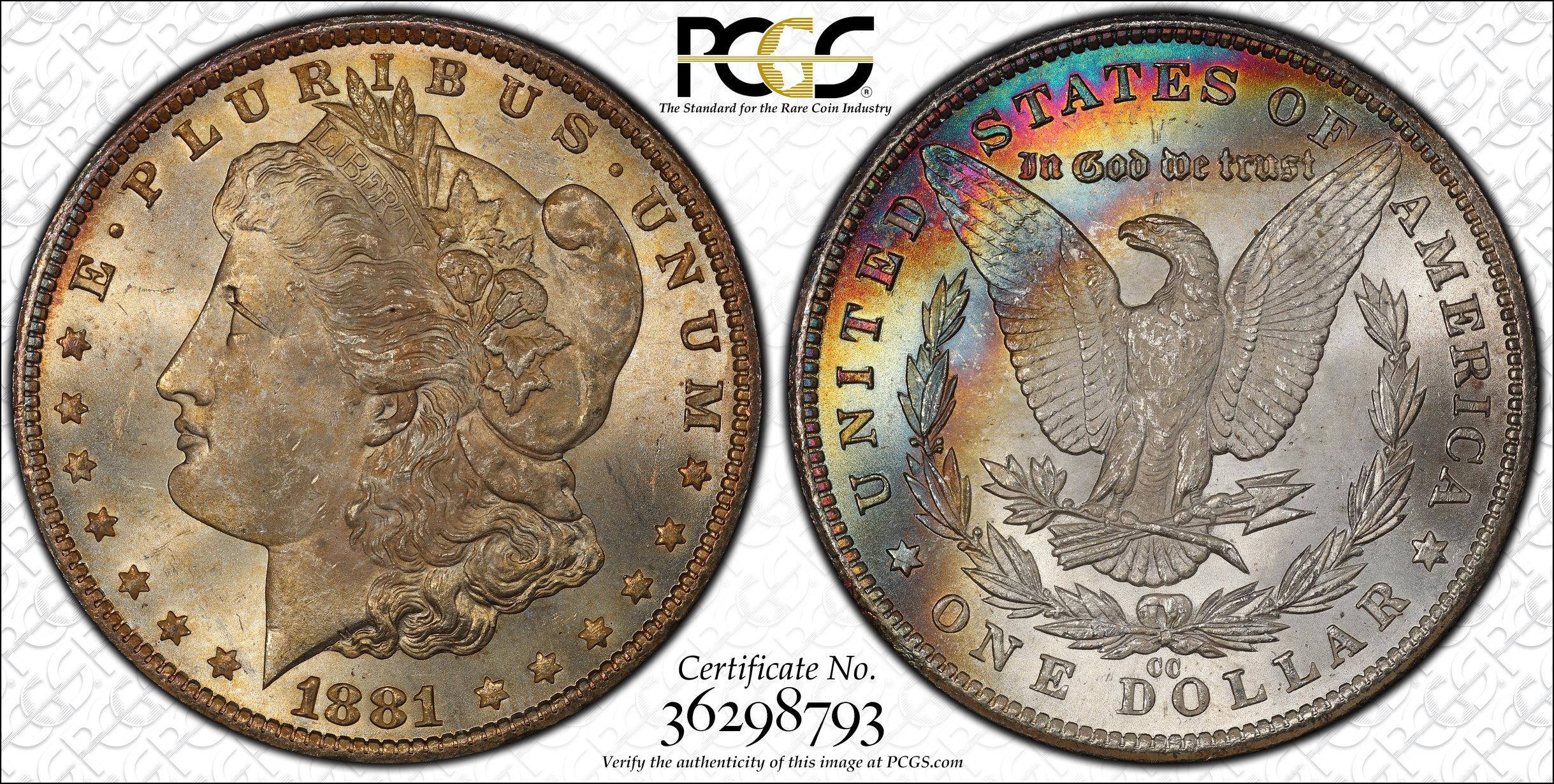 New Purchase 1881 Cc Rainbow Toned Morgan Dollar Pcgs