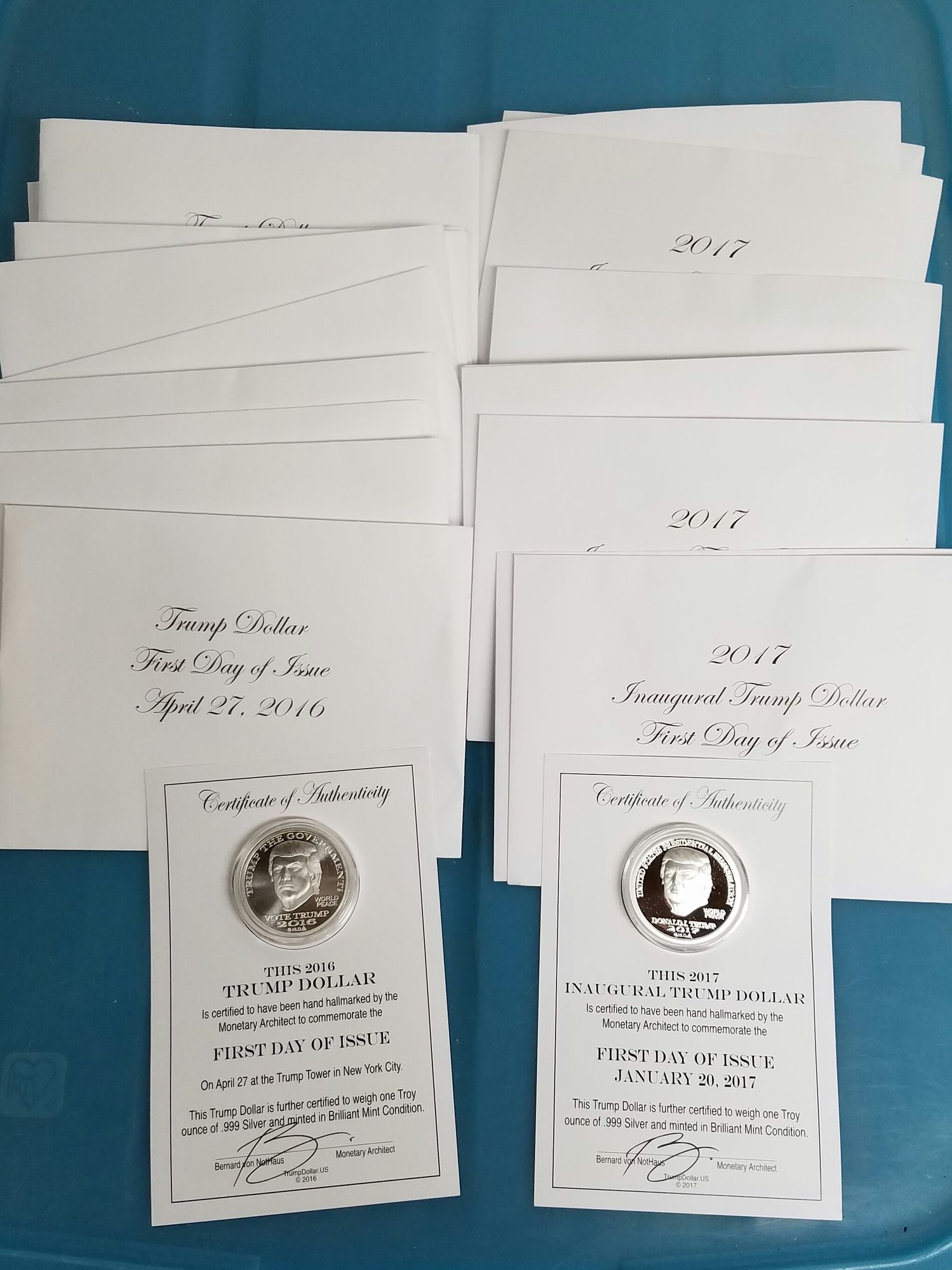 Mixed date ase roll ase proofs gold trump dollarsst call and 10 2017 presidential inauguration investor lot comes with original envelopes and certificates of authenticity signed by bernard von nothaus 1500 xflitez Images