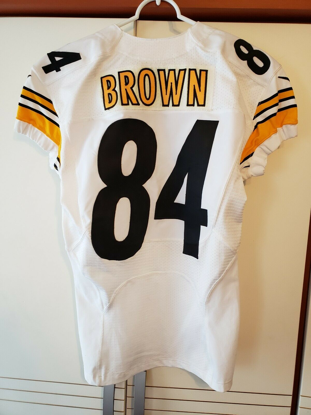detailed pictures 73c36 58e31 FOR SALE: ANTONIO BROWN 2015 GAME USED STEELERS WHITE JERSEY ...