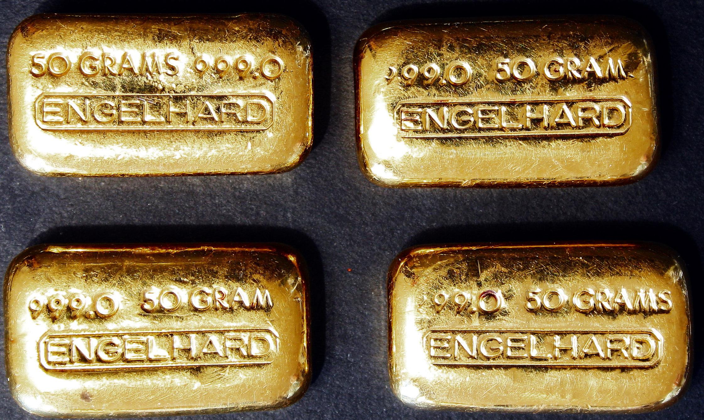 Engelhard 50 Gram Vintage Gold Bars