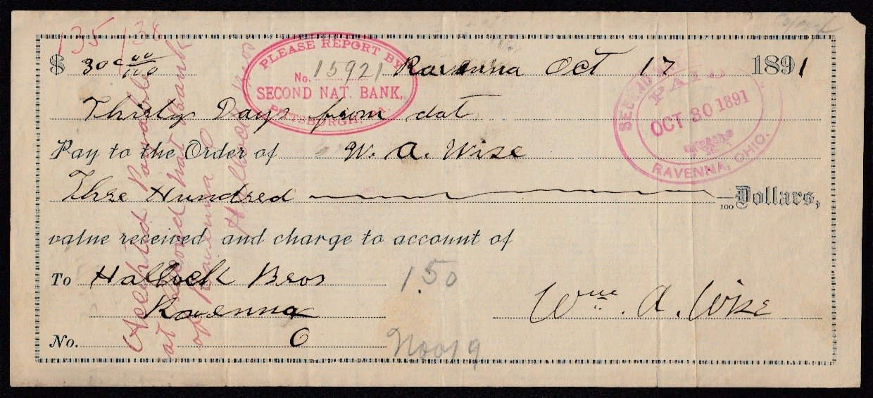 1860s 1890s post during civil war period usa bank checks all check 1 ravenna ohio dated oct 17th 1891 altavistaventures Image collections