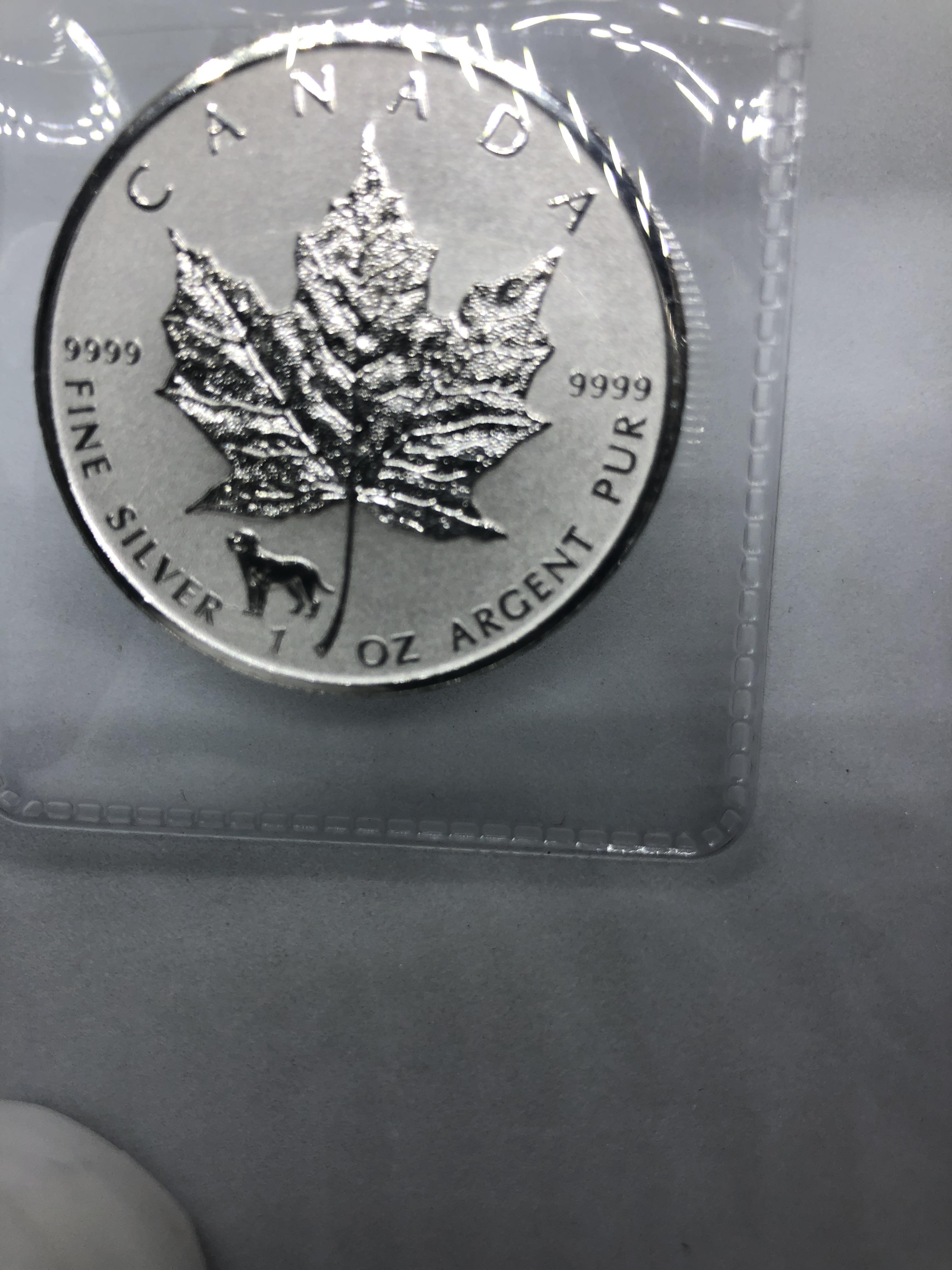 2018 $5 CAD Reverse Proof 1 Oz Silver-Dog Prvcy