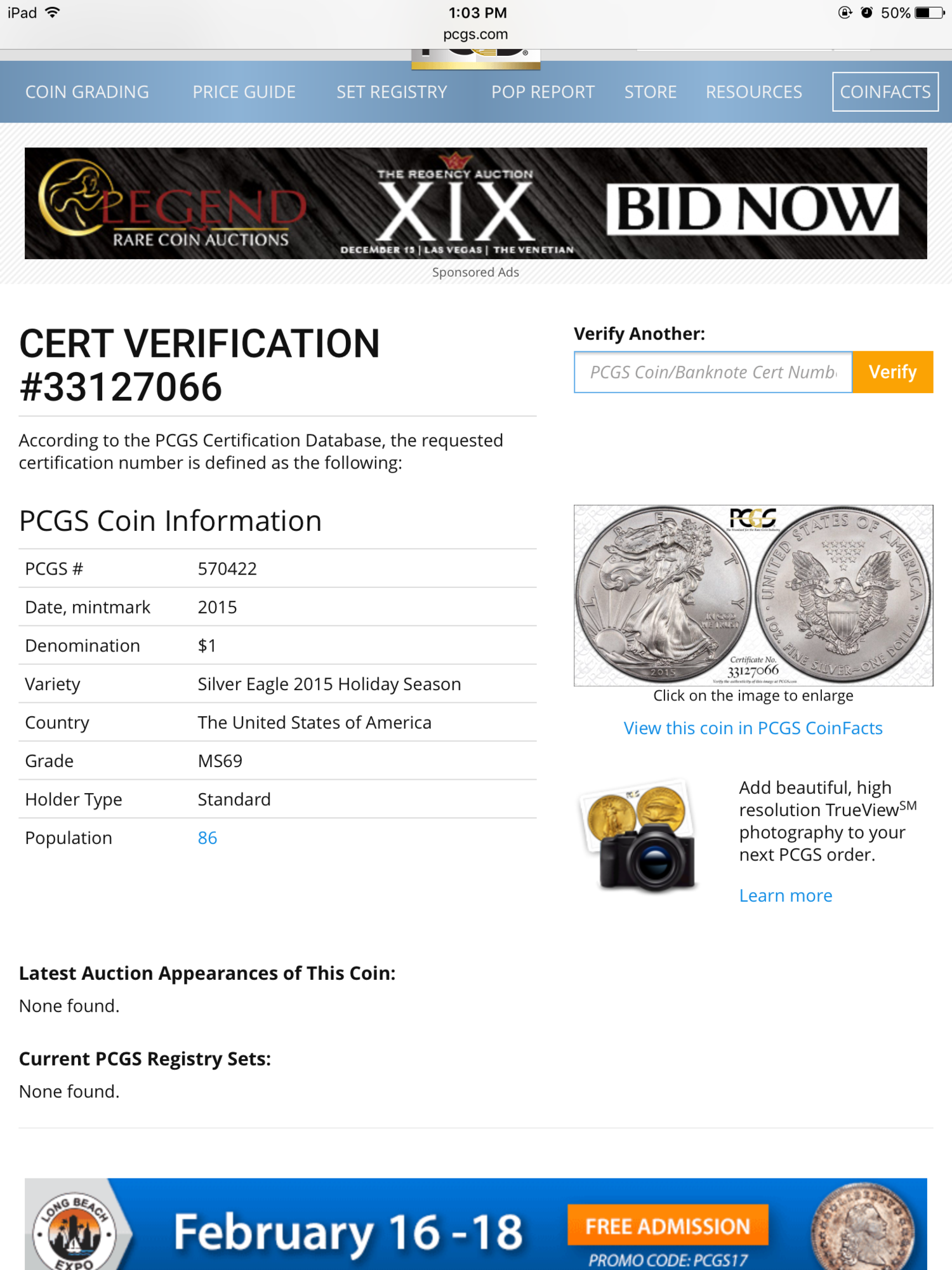 Fs Ebay 2015 1 Ase Pcgs Ms69 Rare Holiday Season Label Pop Of Only