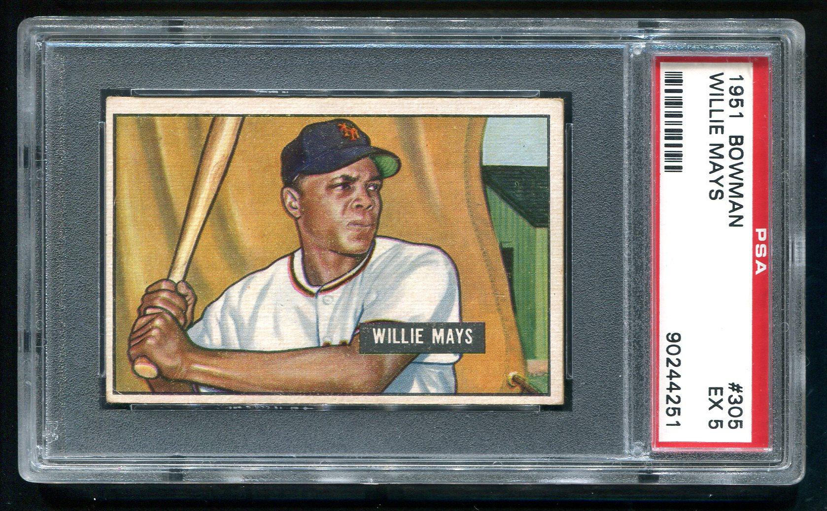 Fs 1951 Bowman Willie Mays Rookie Card 305 Psa 5