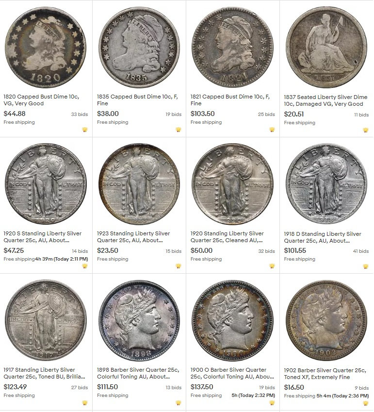 Ebay Auctions Ending Now Nice Barber 25c Better Mercury 10c Bust Seated Coins Slq And More Collectors Universe