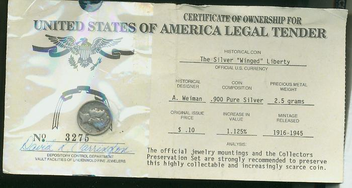 Certificate of Ownership for..... — Collectors Universe