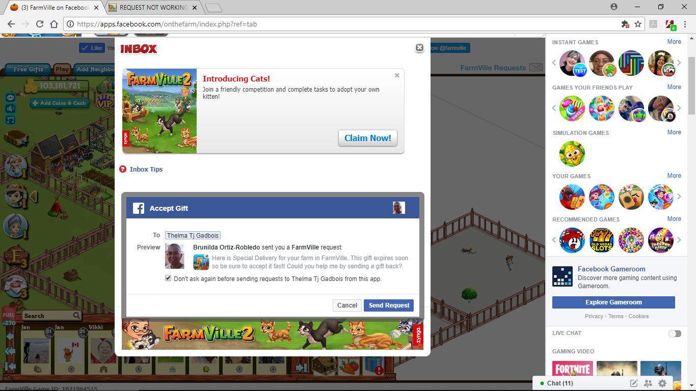 Ask Your Friends request not working — FarmVille