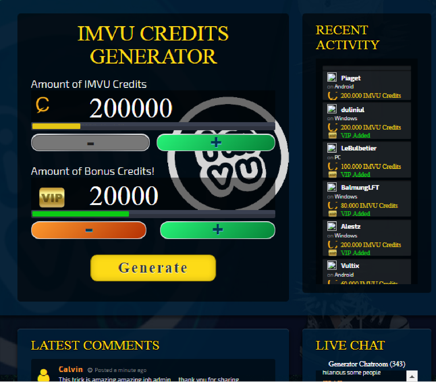 how do you get free credits on imvu