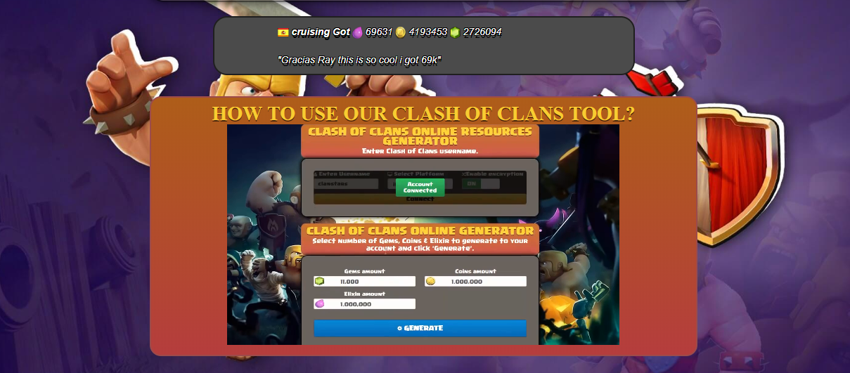 Free Gems, Gold and Elixir in Clash of Clans No Human