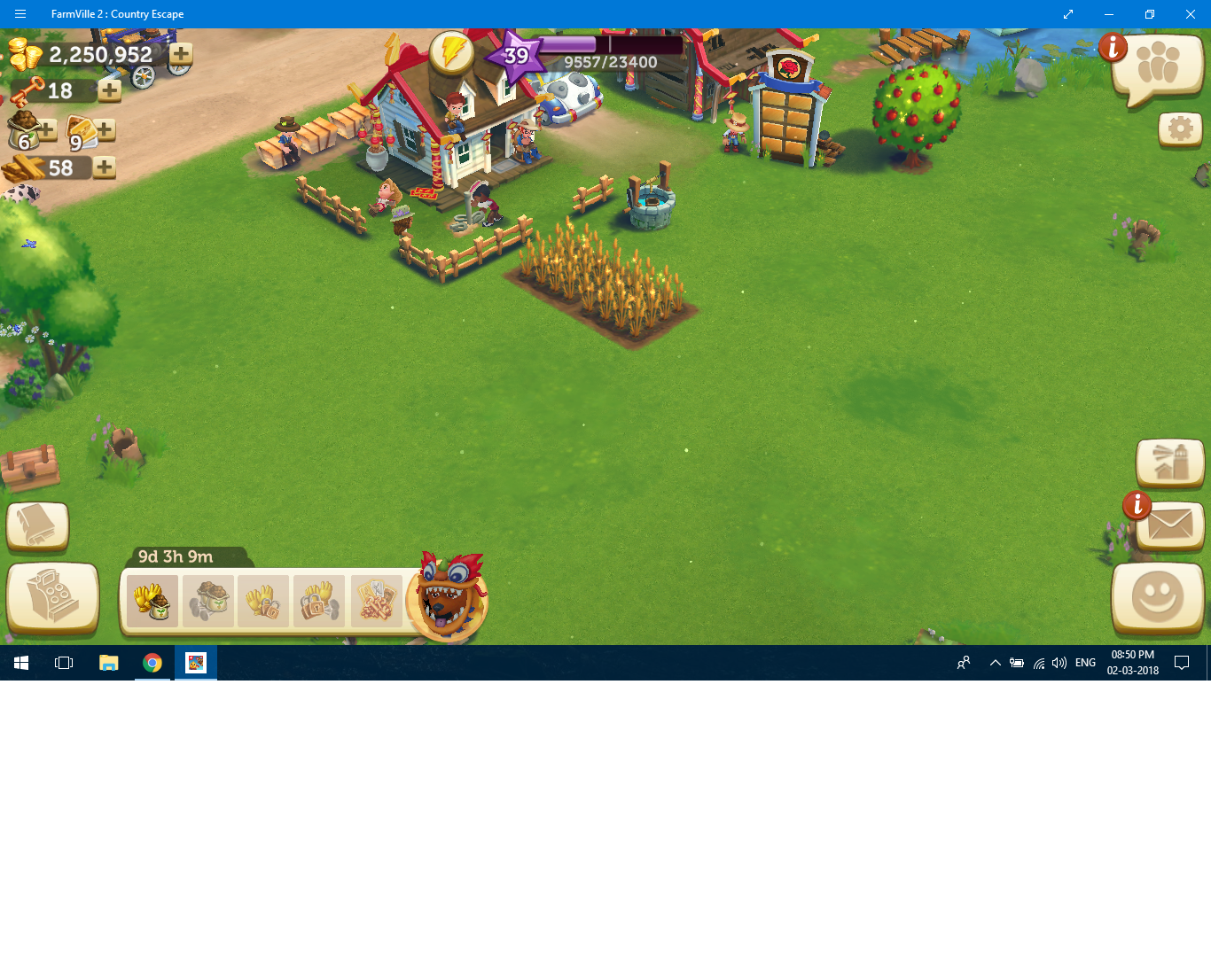 my level is showing 39 but all my farm and animals are