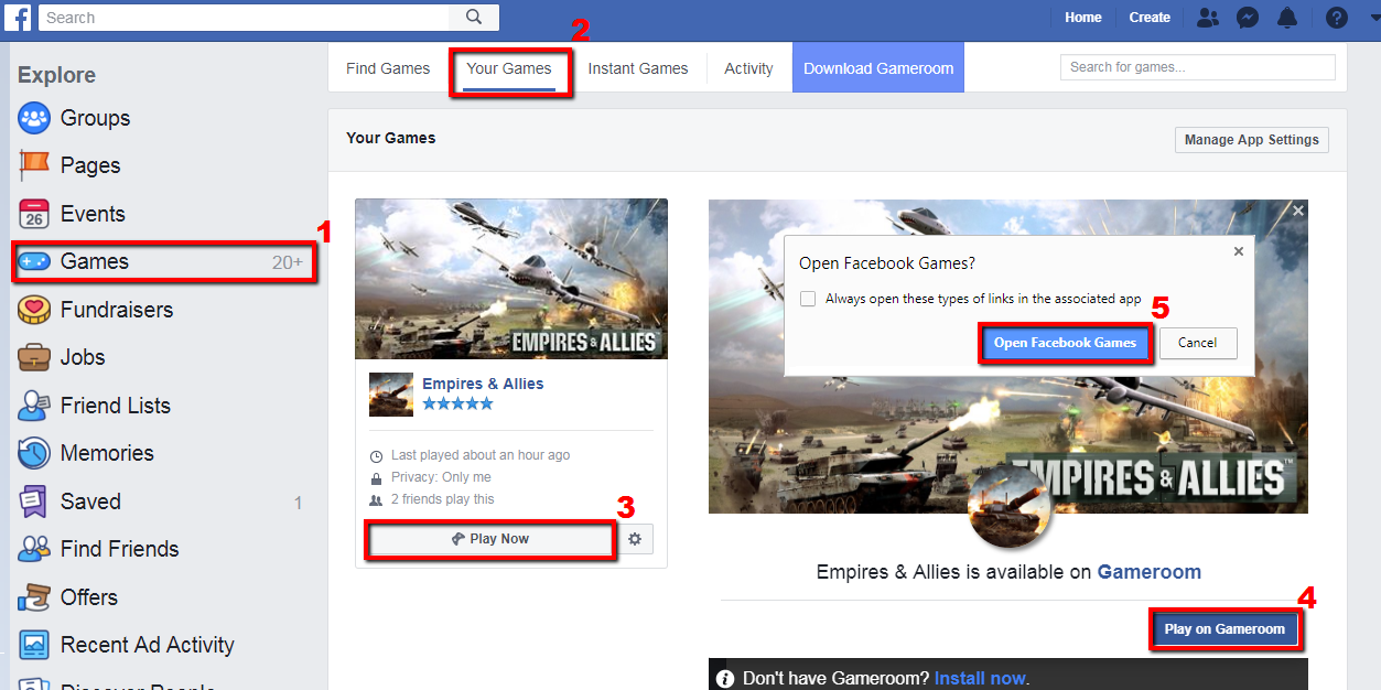 Troubleshooting steps for Facebook Gameroom — Empires and Allies