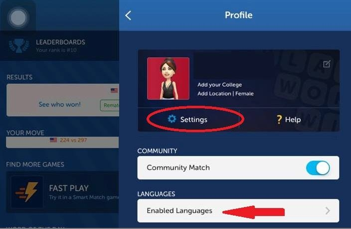 Words with friends community match location