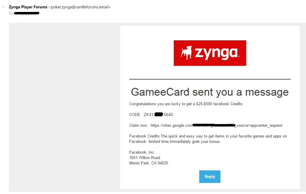 Is this a Scam that came to my Inbox? — Zynga Poker