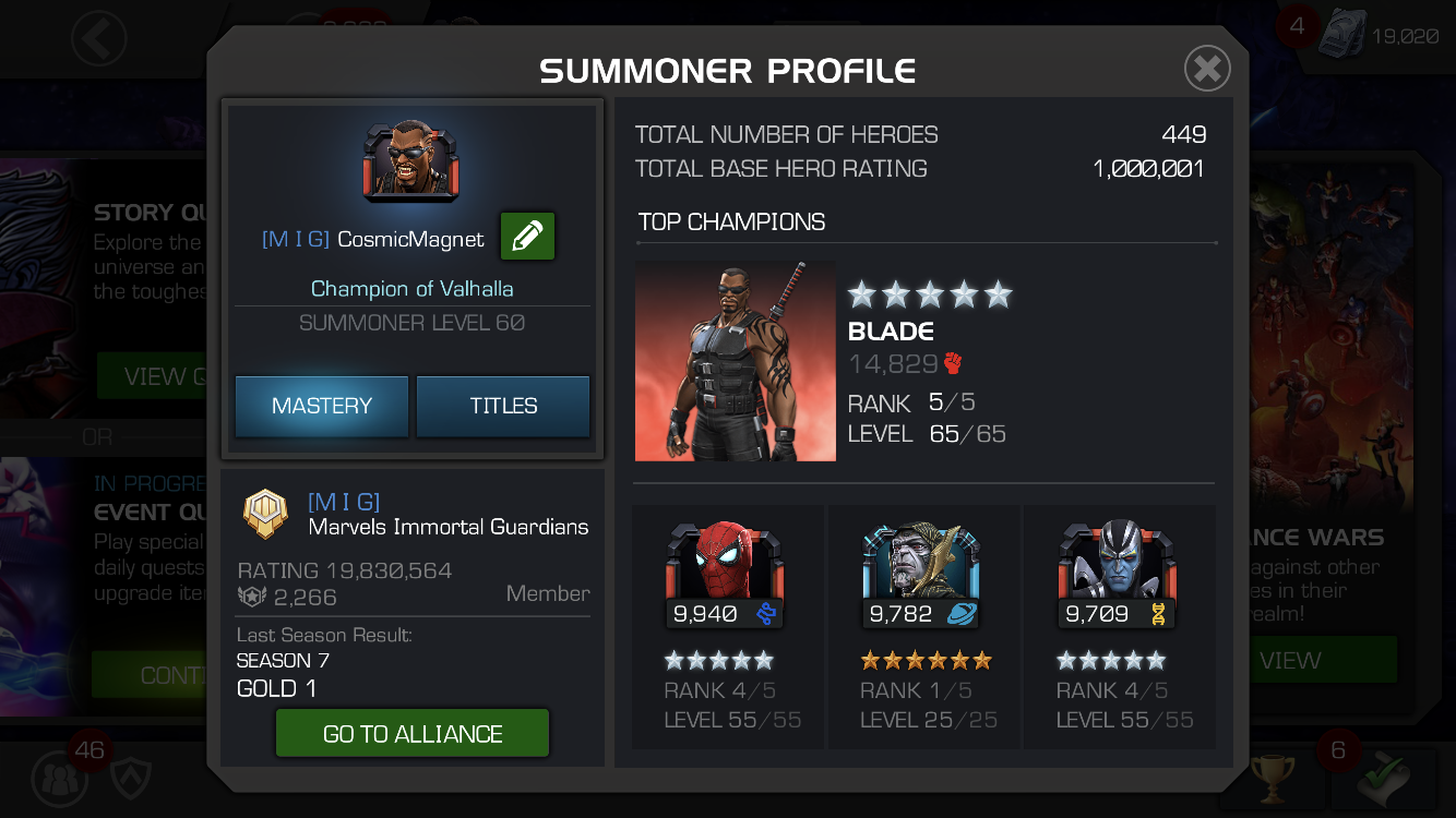 1M Rating, 1x 5*R5, 100% FTP — Marvel Contest of Champions