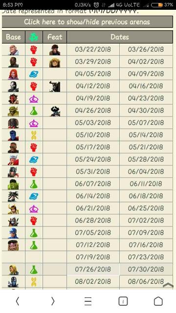 Arena calendar — Marvel Contest of Champions