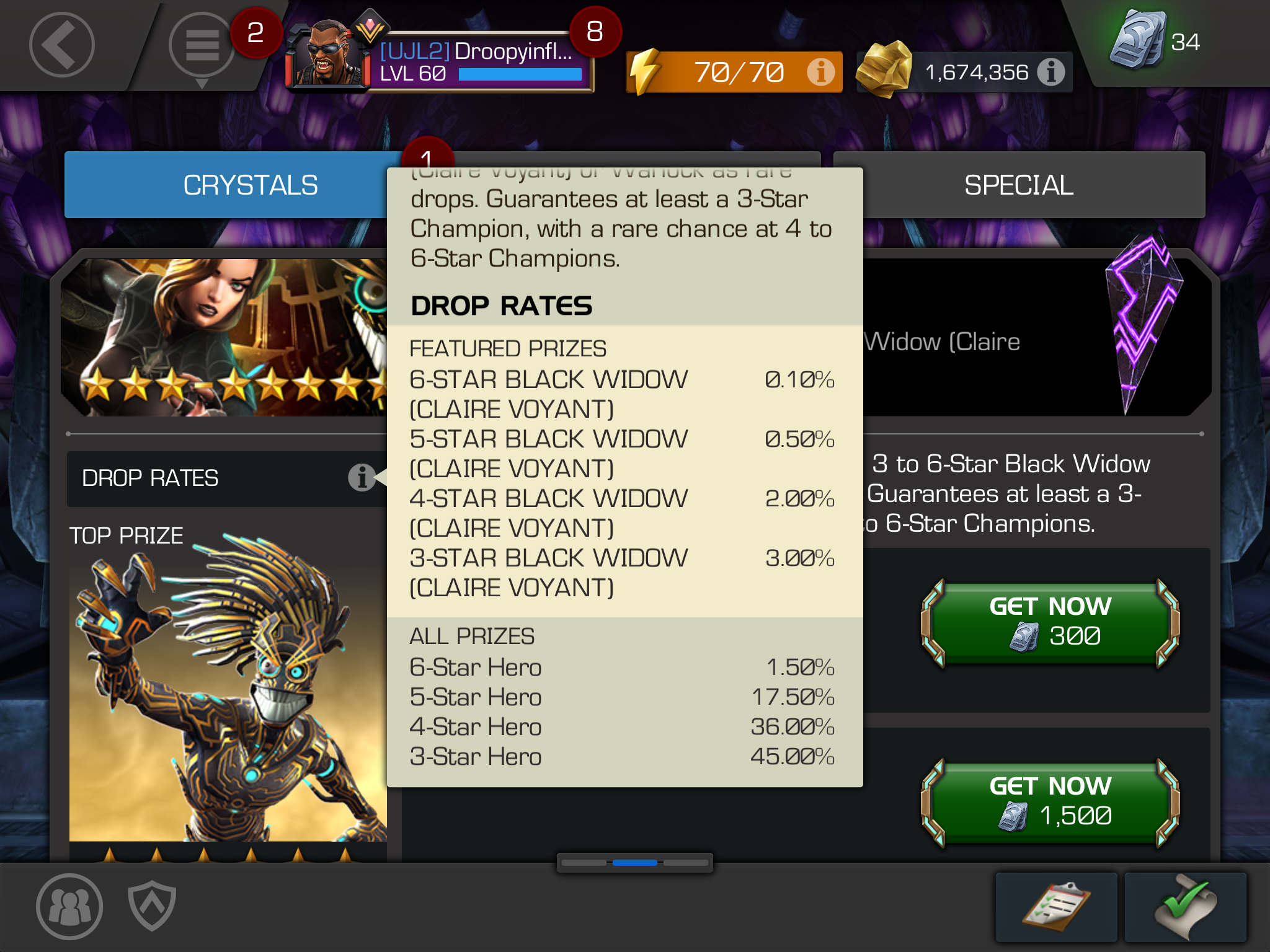 3 to 6 star featured pay for crystal's supposed odds