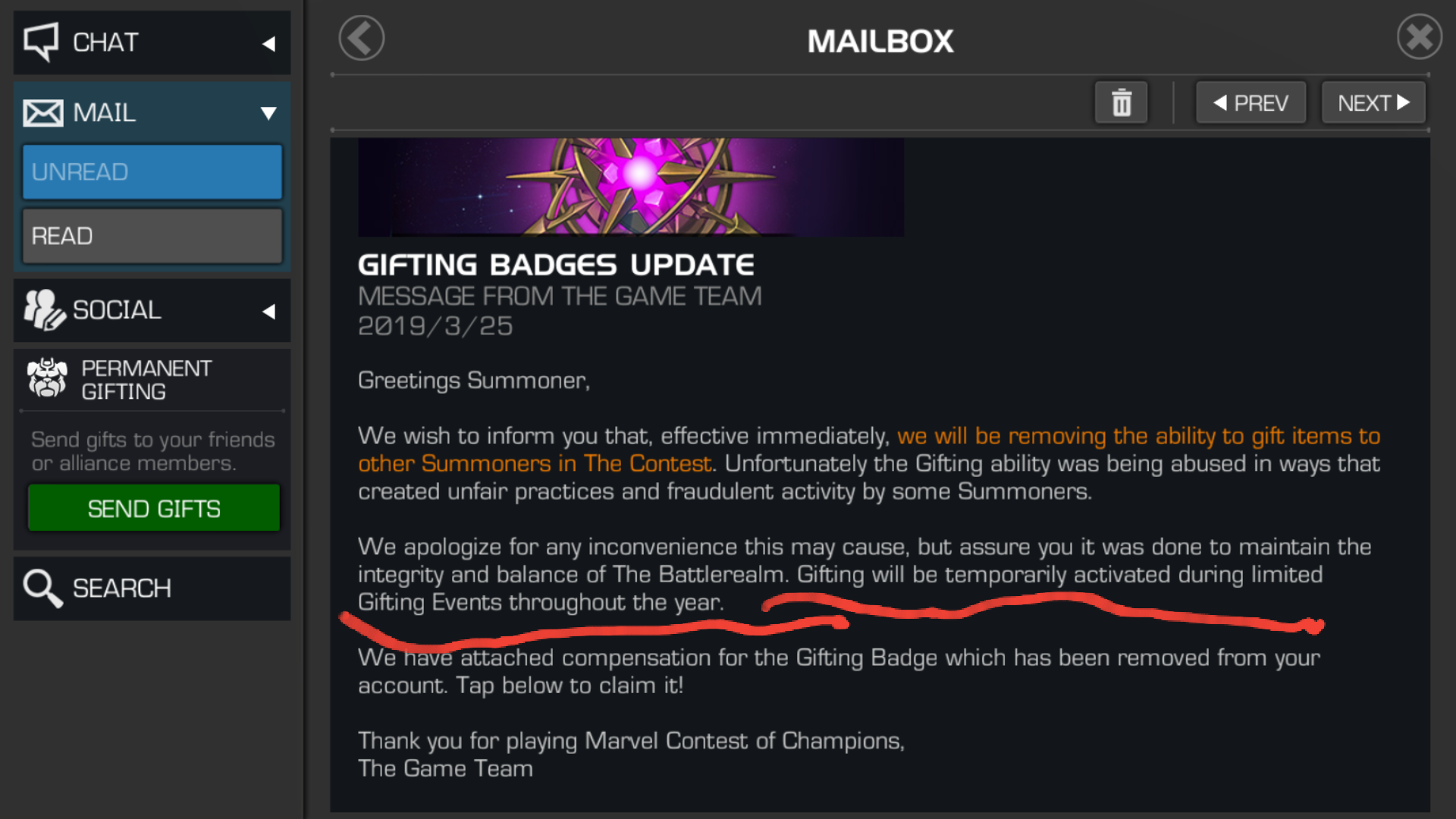 Gifting Badge Discussion [Merged Threads] - Page 33 — Marvel Contest
