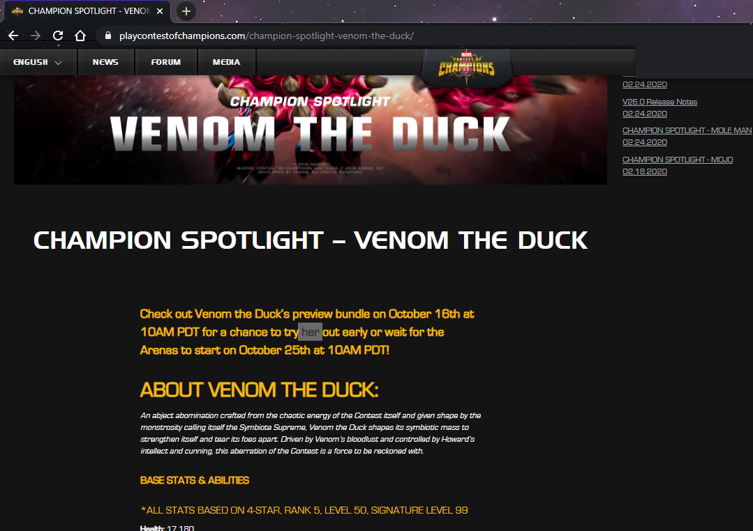 screenshot of VTD Champion Spotlight