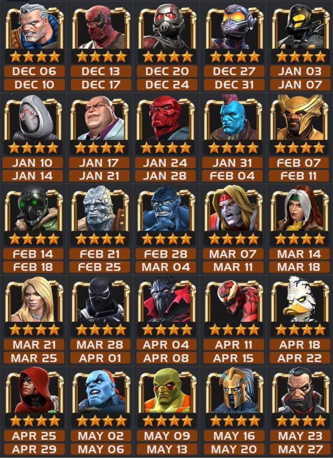 Mcoc Calendar February 2020 4* Basic Arena 2019; Champs with low cut offs — Marvel Contest of