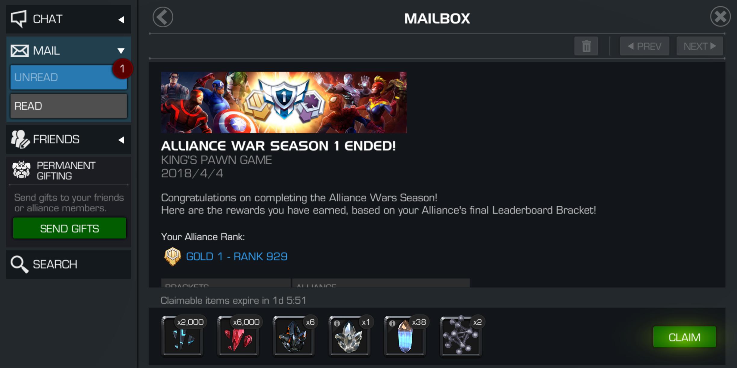 Season rewards — Marvel Contest of Champions