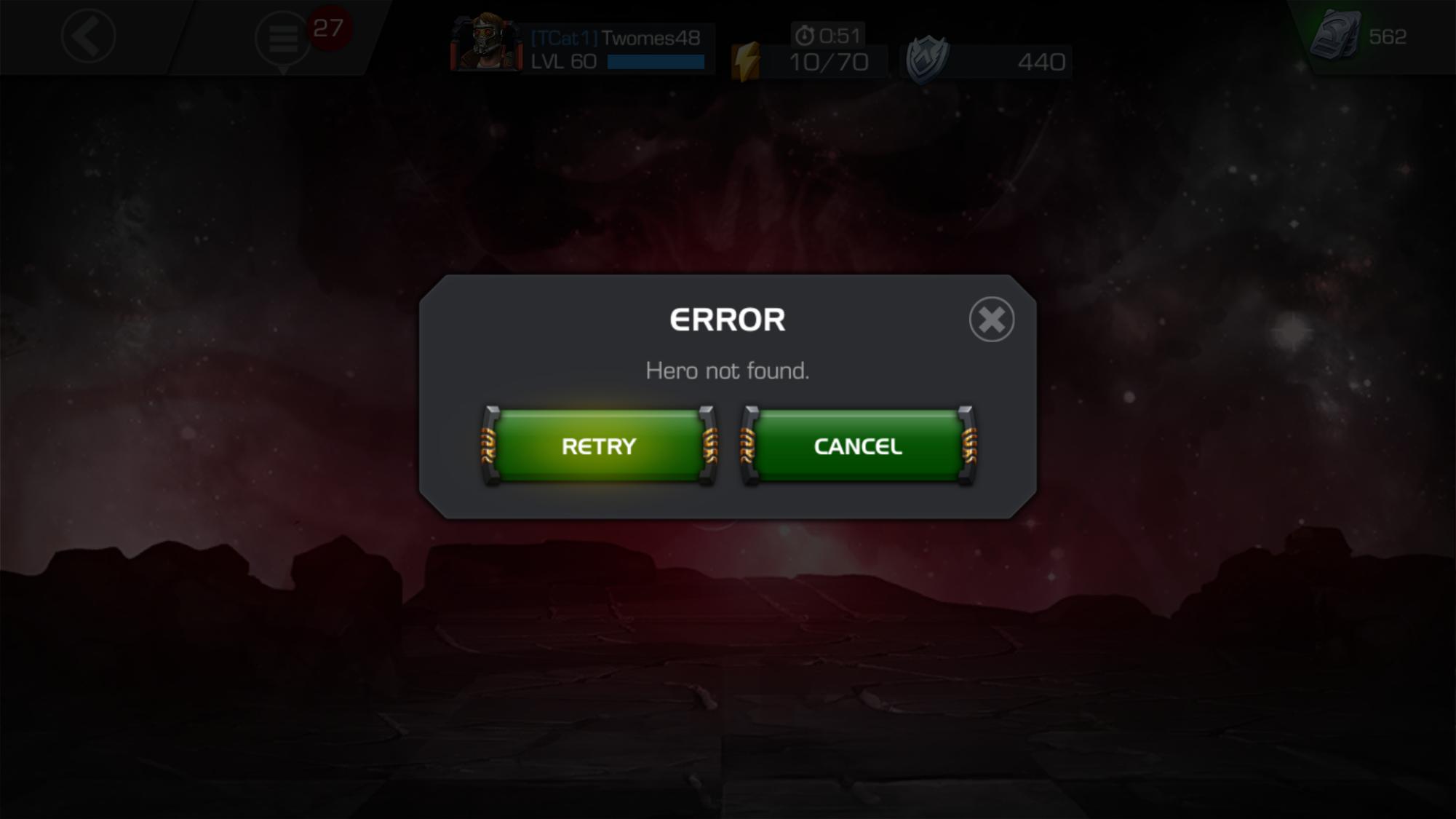 Hero Not Found Error Message — Marvel Contest of Champions
