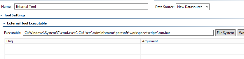 Batch file is not running in the External tool — Parasoft Forum