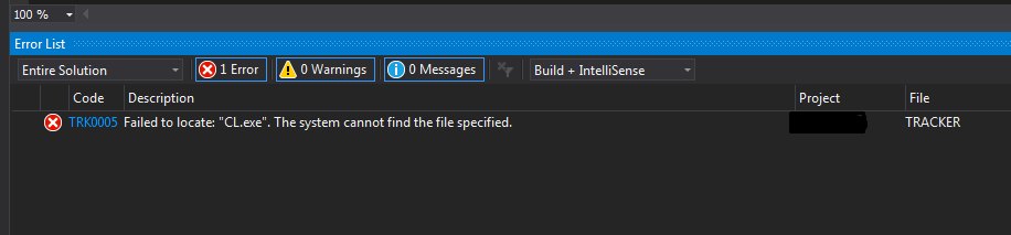 Using Visual Studio 2015 with x64 and not able to find CL