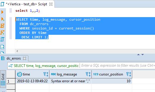 Unclear error location — Vertica Forum