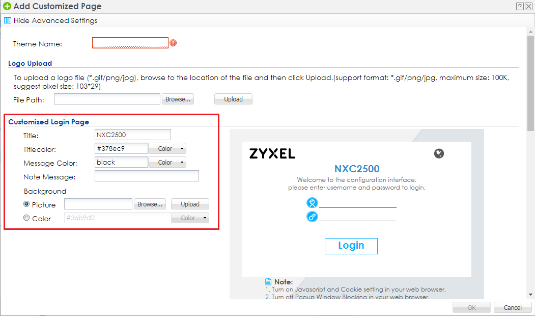 Can the captive portal page be customized on the NXC? — Zyxel