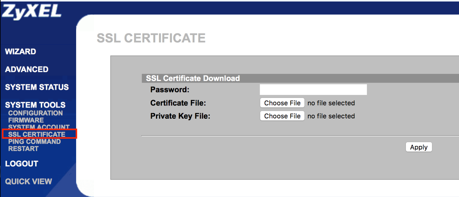 Zyxel N4100 Gateway Problems With Ssl Certificate On Welcome Page