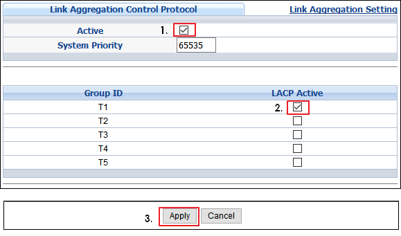2 port lacp group  How to join with vlan — Zyxel