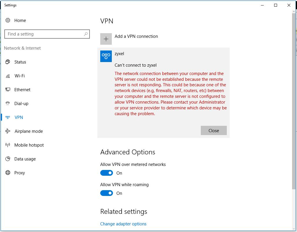 Cant establish VPNconnection Win10USG60W Zyxel