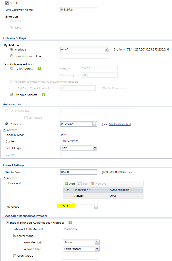 IKEv2 IPSec VPN with DH14 and Windows 7/10 - HELP! — Zyxel