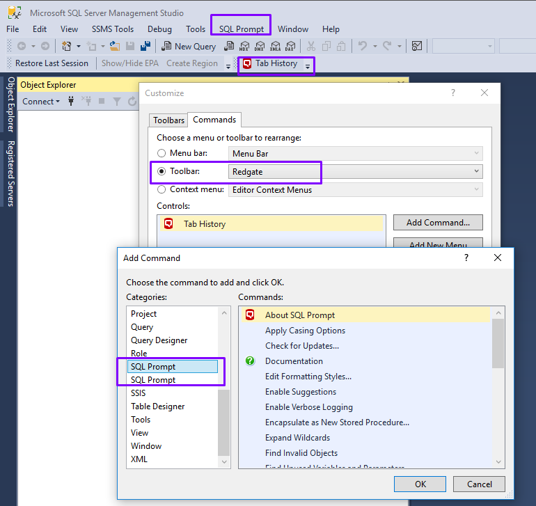 Can't get any Red-gate tools (Prompt / Search) to load into SSMS at