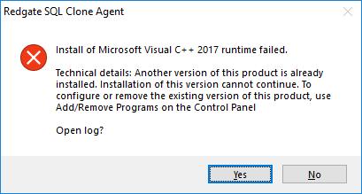 SQL Clone Agent - VC++ 2017 runtime installation fails