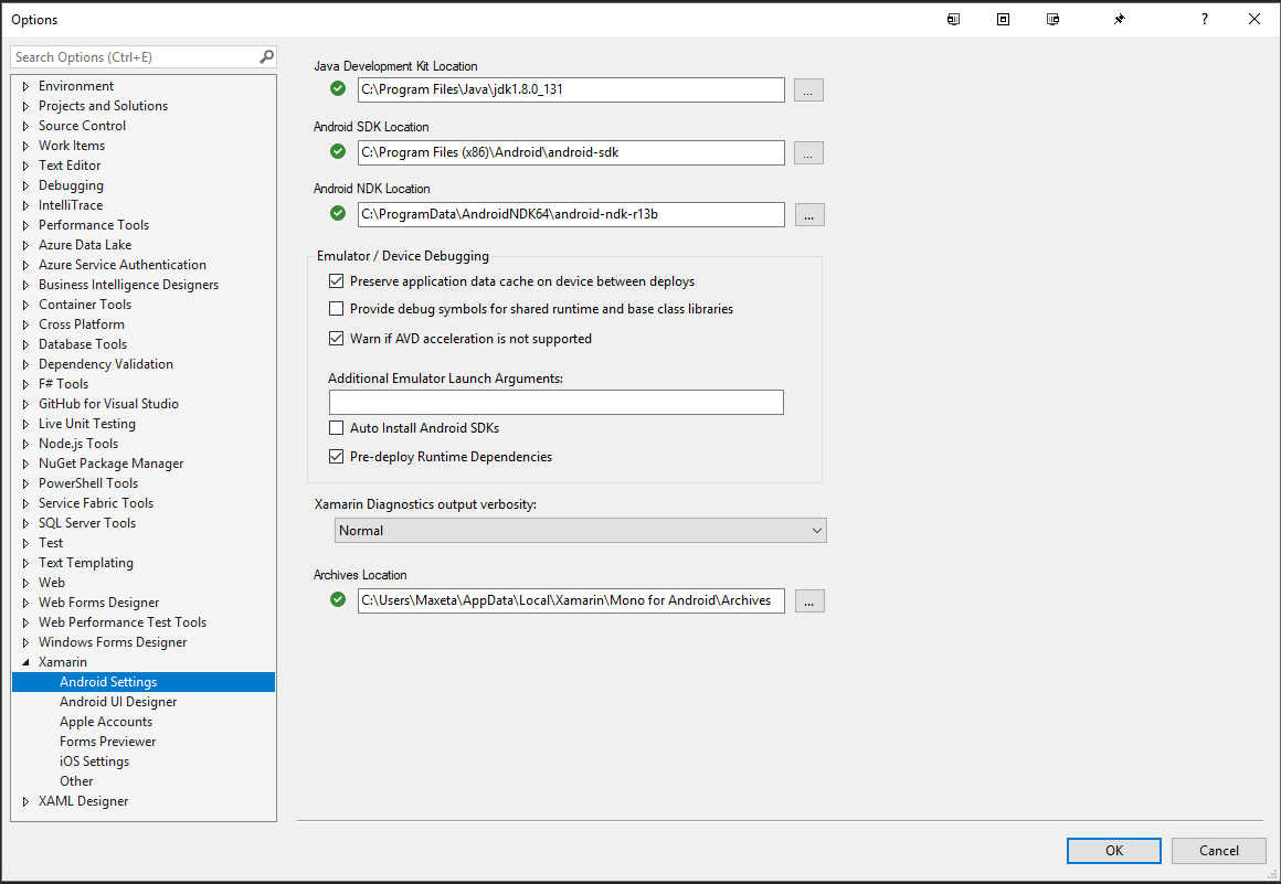 Visual Studio 2017 Extension Upgrade Re-Installed Android