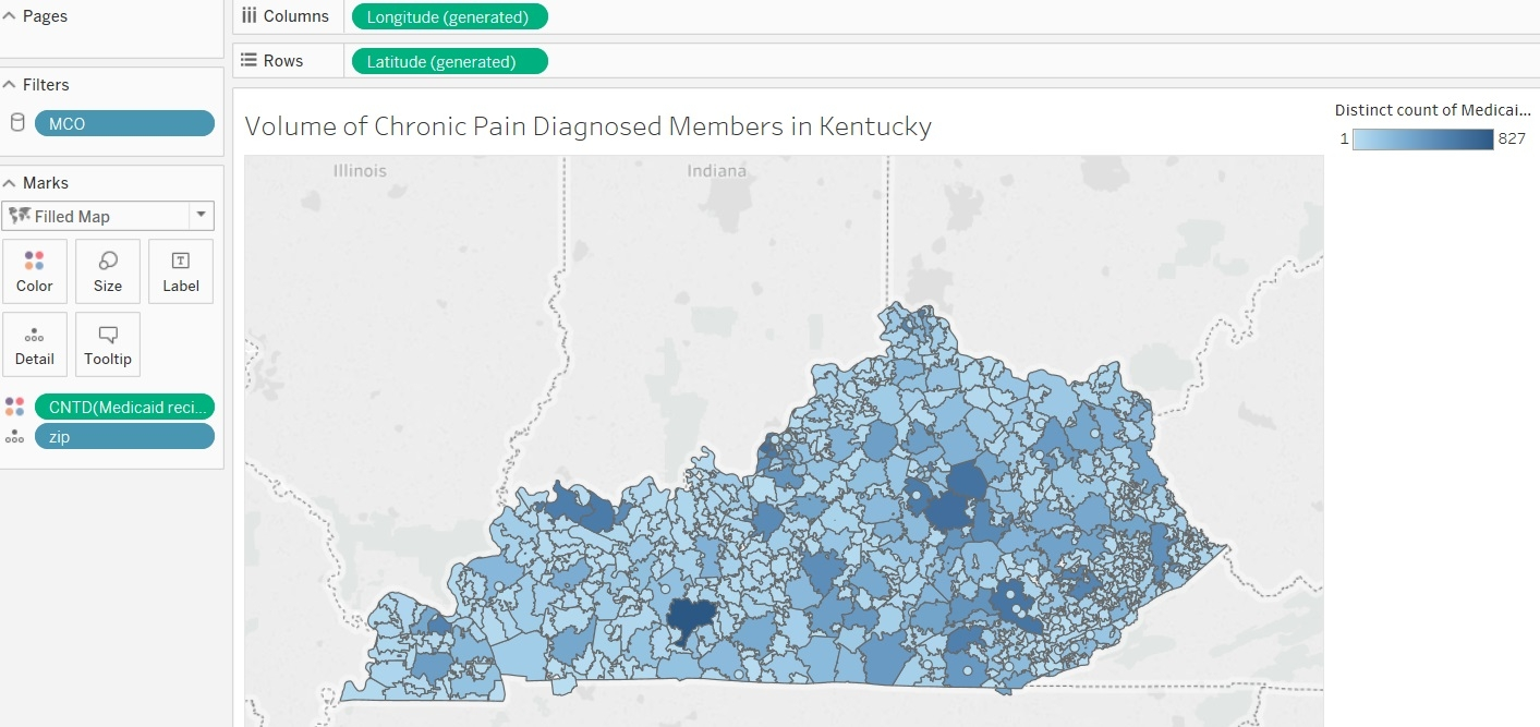 The Below Is The Tableau Image I Created Showing Counts Of Chronic Pain Diagnosed Individuals In Each Kentucky Zip Code