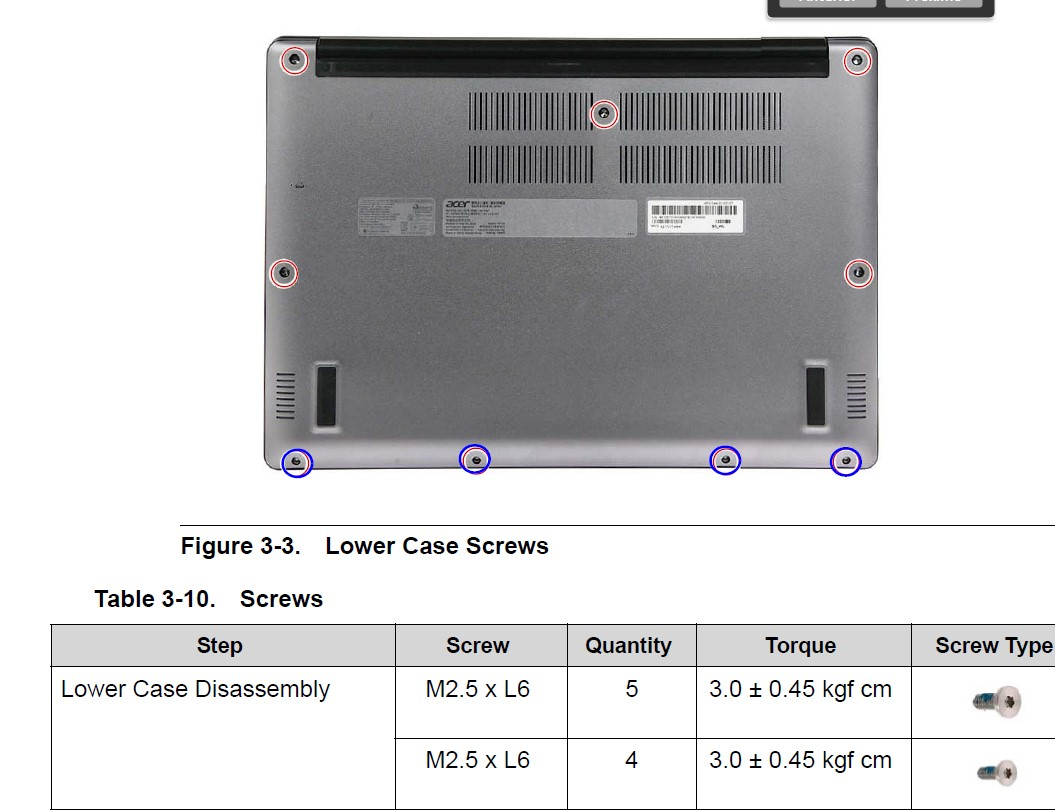 Swift 3 laptop - screw sizes for hinge and bottom cover