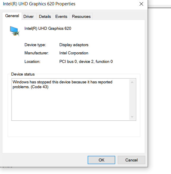 Problem with the Intel UHD Graphics 620 — Acer Community