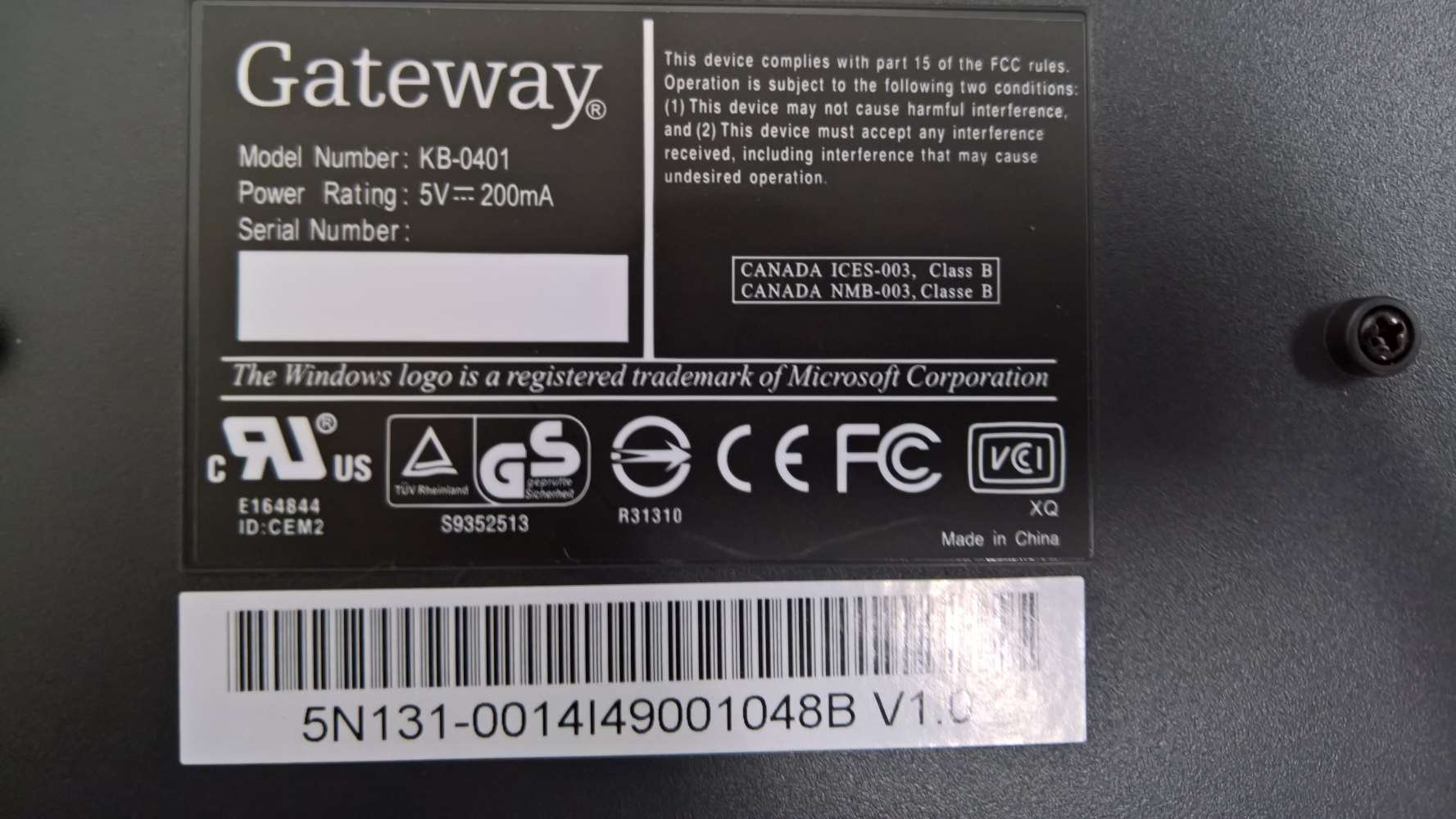 GATEWAY KB 0401 DRIVER FOR PC