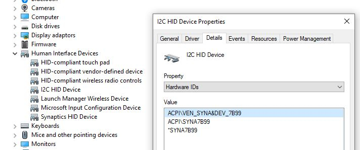 Acer A715-72G-79BH touchpad driver download doesn't have a