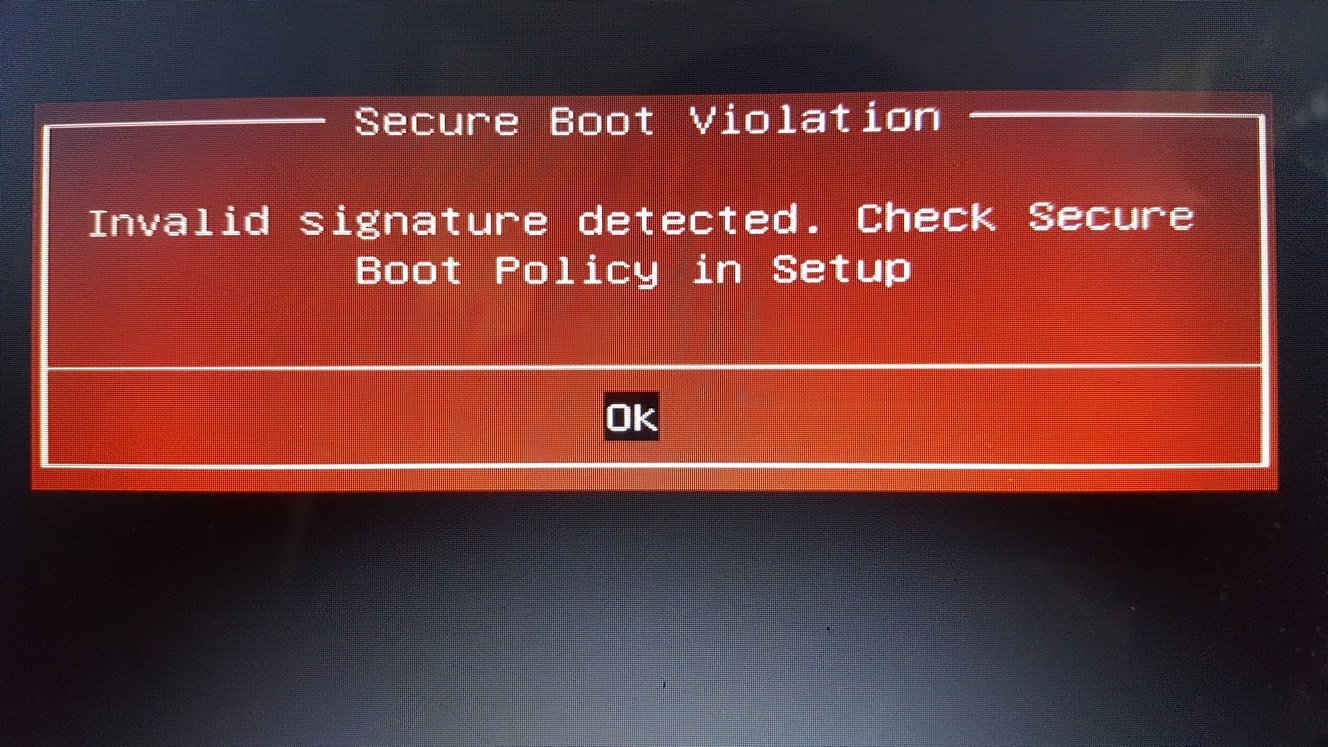 Secure Boot Violation - Acer One Z1402 — Acer Community