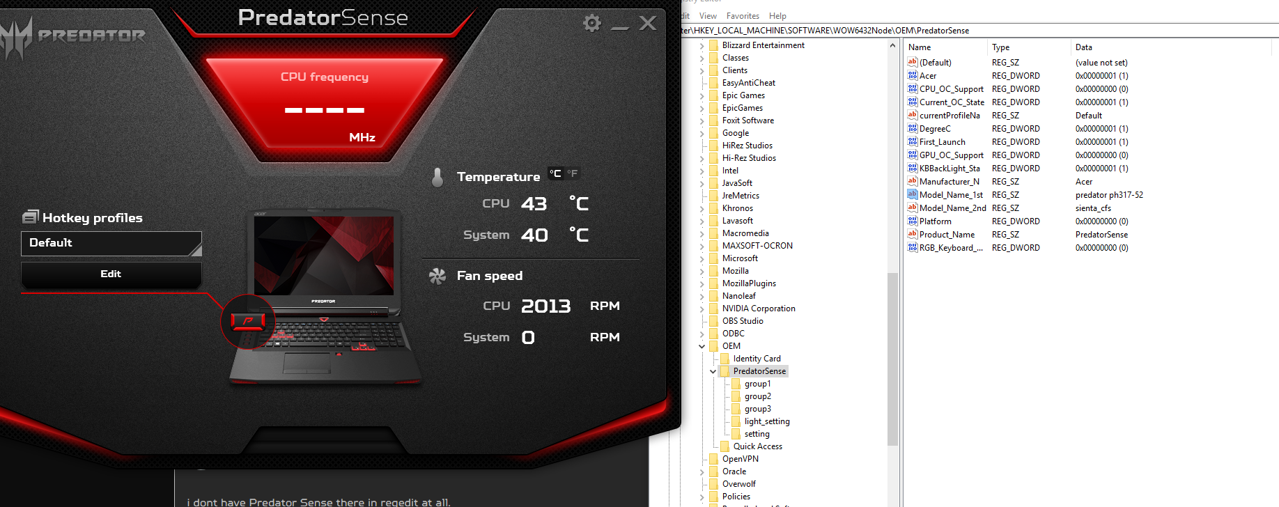 Acer Predator Sense can't be installed on ACER HELIOS 300
